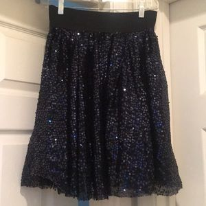The Limited black and blue sequence A-line skirt